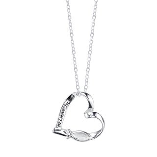 Inspirational Sterling Silver Heart Shape Believe For With God All Things Ar Possible' Pendant