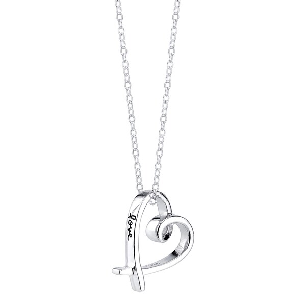 Genuine 925 Sterling Silver Small Crossover Heart Love Pendant