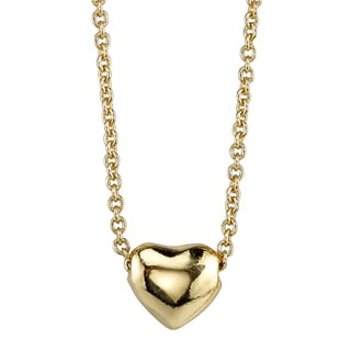 Goldtone Puffed Heart Necklace