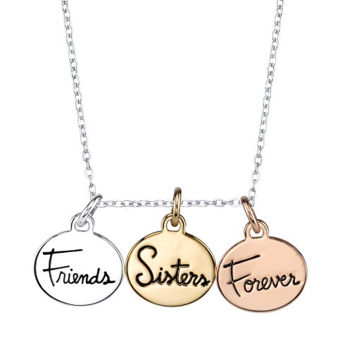 Inspirational Tri-color 3-disc 'Sisters Friends Forever' Pendant