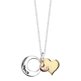 Inspirational Tri-color Sterling Silver 'Mom I Love U to the Moon and Back' Pendant