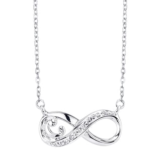 Mother and Baby Crystal and Silvertone Infinity Necklace