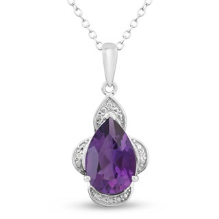 Platinum Over Brass 2 3/4 TGW Pear-cut Amethyst Diamond Accent Necklace