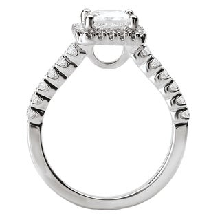 Avanti 14k White Gold 1 3/5ct TDW Certified Diamond Square Halo Bridal Ring Set (G-H, SI1-SI2)