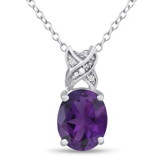 Platinum Over Brass 3 1/2 TGW Oval-cut Amethyst Diamond Accent Necklace