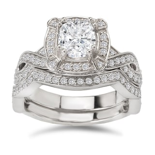 Avanti 14k White Gold 1 5/8ct TDW Certified Cushion-cut Diamond Bridal Ring Set (G-H, SI1-SI2)