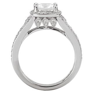 Avanti 14k White Gold 1 1/2ct TDW Certified Princess-cut Diamond Split Shank Bridal Ring Set (G-H, SI1-SI2)