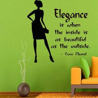 Elegance Coco Chanel Quote Sticker Vinyl Wall Art