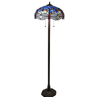 Tiffany-style Azul Dragonfly 18-inch Floor Lamp
