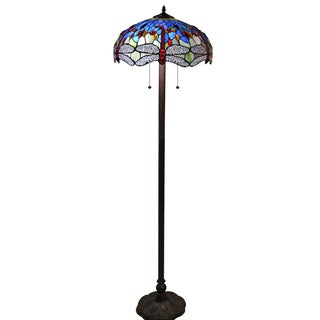 Tiffany-style Azul Dragonfly 18-inch Floor Lamp