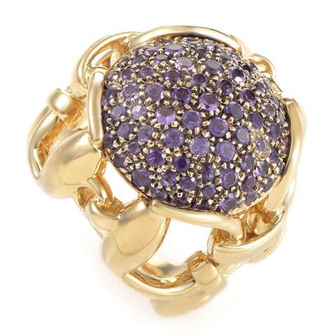 Gucci 18k Yellow Gold Amethyst Horsebit Pave Ring (Size 4.25)