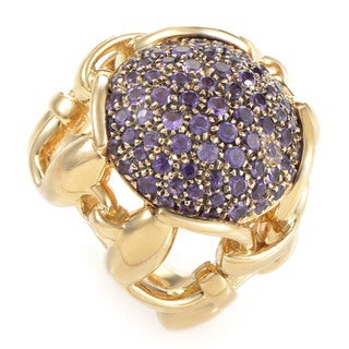 Gucci 18k Yellow Gold Amethyst Horsebit Pave Ring (Size 4.25) - Purple