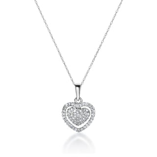 SummerRose 14k White Gold 1/3ct TDW Diamond Heart Necklace ( H-I, SI1-SI2)