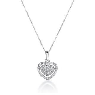 SummerRose 14k White Gold 1/3ct TDW Diamond Heart Necklace