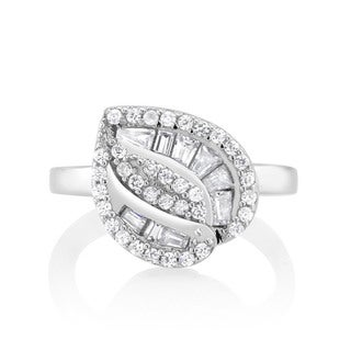 925 Sterling Silver Cubic Zirconia Double Row Tree Ring