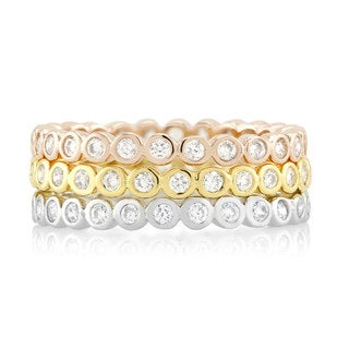 Rhodium-plated/ Goldplated/ Rose-plated Triple Stackable Round-cut Cubic Zirconia Ring