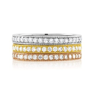 Rhodium-plated/ Goldplated/ Rose-plated Stackable Cubic Zirconia Ring