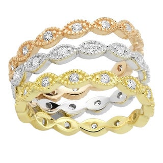 Rhodium-plated/ Goldplated/ Rose-plated Triple Stackable Cubic Zirconia Ring
