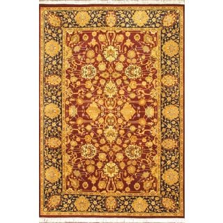 Ecarpetgallery Pako Persian 18/20 Light Burgundy, Light Navy Wool Open Field Rug Rectangular (6'1 x 8'10)