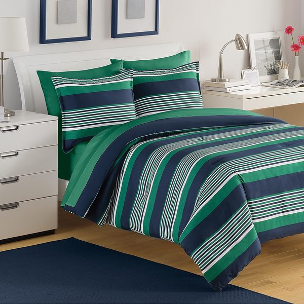 Shop Izod Caddy Stripe 3 Piece Comforter Set Free