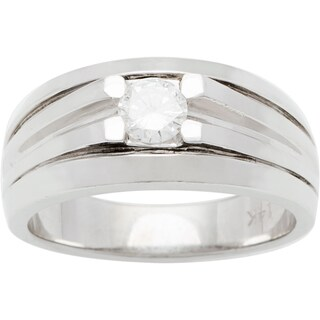 14k White Gold 1/4ct TDW Diamond Solitaire Wide Band Estate Ring (G-H, SI1-SI2)