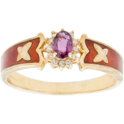 14k Yellow Gold 1/10ct TDW Diamond and Ruby Enameled Band Estate Ring (H-I, SI1-SI2)