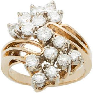 14k Yellow Gold 2 1/4ct TDW Diamond Clustered Diamonds Estate Ballerina Ring (H-I, VS1-VS2)|https://ak1.ostkcdn.com/images/products/10105290/P17245827.jpg?impolicy=medium