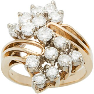14k Yellow Gold 2 1/4ct TDW Diamond Clustered Diamonds Estate Ballerina Ring (H-I, VS1-VS2)