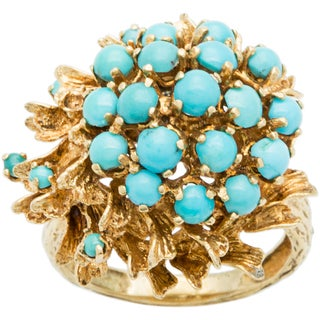18k Yellow Gold Clustered Turquoise Cocktail Ring