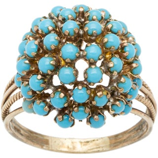 14k Yellow Gold Antique Turquoise Cluster Ring (Size 10.25)