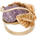 14k Yellow Gold Large Leaf and Freeform Amethyst Estate Ring