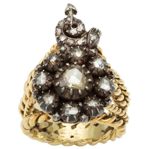 14k Yellow Gold and Silver 3/4ct TDW Diamond Antique Rose Cut Diamond Ring (L-M, I2-I3)