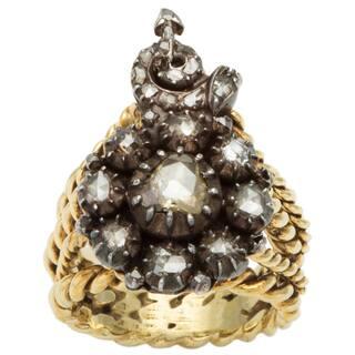 14k Yellow Gold and Silver 3/4ct TDW Diamond Antique Rose Cut Diamond Ring (L-M, I2-I3)|https://ak1.ostkcdn.com/images/products/10105297/P17245836.jpg?impolicy=medium