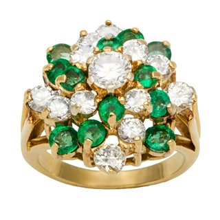 18k Yellow Gold 1 1/2ct TDW Diamond and Emerald Estate Cluster Ring (F-G, VS1-VS2)