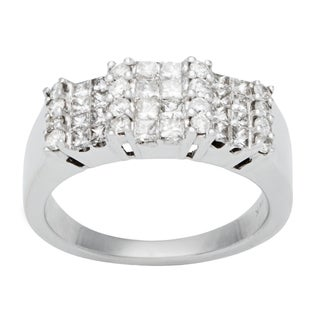 14k White Gold 1ct TDW Invisible-set Diamond Cluster Ring (H-I, SI1-SI2)