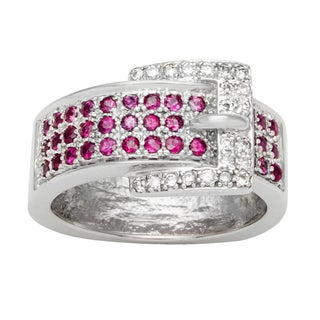 14k White Gold 1/4ct TDW Diamond and Ruby Belt Buckle Ring (H-I, SI1-SI2)