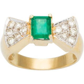 18k Yellow Gold 1/4ct TDW Diamond Diamonds and Emerald Bow Tie Estate Ring (G-H, SI3)