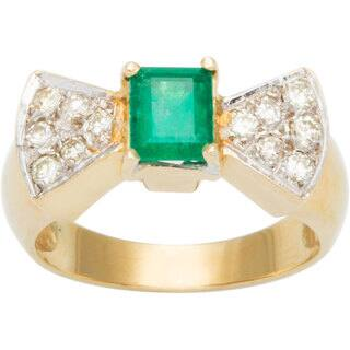 18k Yellow Gold 1/4ct TDW Diamond Diamonds and Emerald Bow Tie Estate Ring (G-H, SI3)|https://ak1.ostkcdn.com/images/products/10105308/P17245837.jpg?impolicy=medium