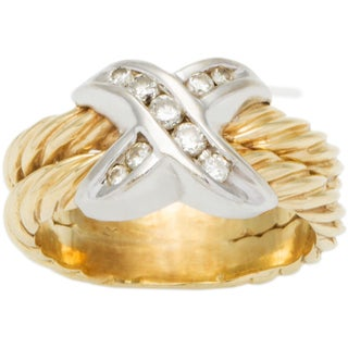 14k Two-tone Gold 1/5ct TDW Diamond 'X' Style Estate Cable Ring (H-I, SI1-SI2)
