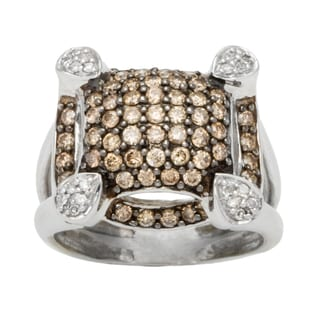 10k White Gold 1 1/4ct TDW Diamond Pave Top Brown Estate Ring (Brown, I1-I2)