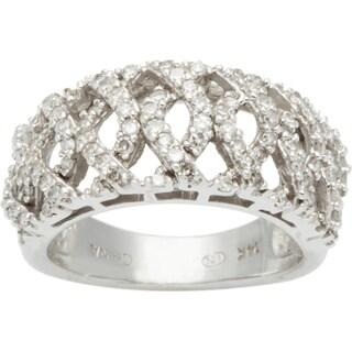 14k White Gold 1/3ct TDW Diamond Lattice Style Band Estate Ring (J-K, I1-I2)