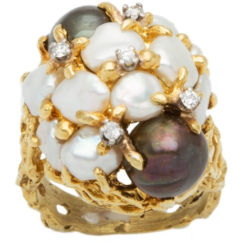 18k Yellow Gold 1/7ct TDW Diamond Giant Clustered Pearls and Diamond Dome Ring (H-I, SI1-SI2)