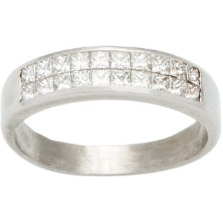 Platinum 3/4ct TDW Invisible-set Diamond Half Eternity Band Estate Ring (G-H, VS1-VS2)