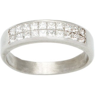 Platinum 3/4ct TDW Invisible-set Diamond Half Eternity Band Estate Ring (G-H, VS1-VS2)
