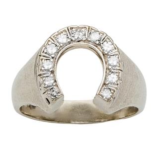 14k White Gold 1/4ct TDW Diamond Horse Shoe Estate Ring (H-I, SI1-SI2)