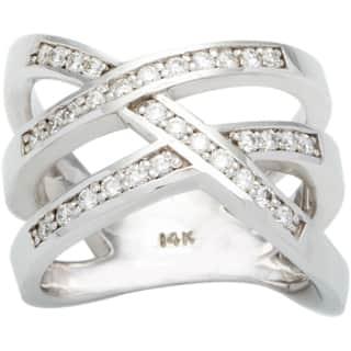 14k White Gold 1/2ct TDW Diamond Criss Cross Ring (G-H, SI1-SI2)|https://ak1.ostkcdn.com/images/products/10105336/P17245865.jpg?impolicy=medium