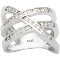 14k White Gold 1/2ct TDW Diamond Criss Cross Ring (G-H, SI1-SI2)