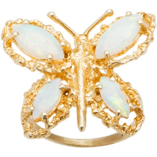 14k Yellow Gold and Opal Butterfly Nugget Ring (Size 7.75)