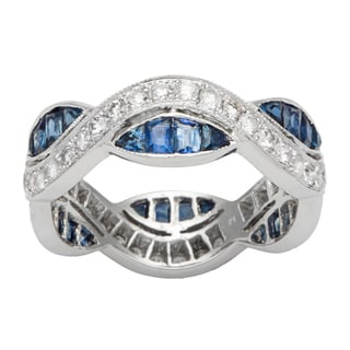 18k White Gold 3/5ct TDW Diamond and Sapphire Crossover Ring (H-I, SI1-SI2)