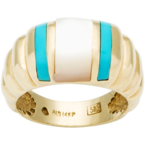 14k Yellow Gold Turquoise and Pearl Estate Ring (Size 7.5)